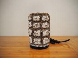 Muschellampe Säule S -weiss/braun-