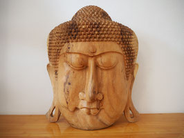 Massive Buddha Wandmaske aus Suarholz mit natürlicher Holzmaserung, unbehandelt -R4-