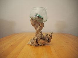 Wurzelholz mit 1 Glas  - W 19-1/34