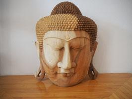 Massive Buddha Wandmaske aus Suarholz mit natürlicher Holzmaserung, unbehandelt -R6-