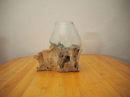 Wurzelholz mit 1 Glas  - W 19-2/8