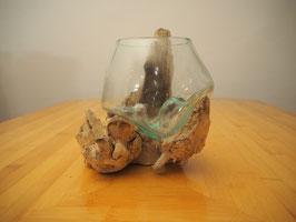 Wurzelholz mit 1 Glas  - W 19-1/24