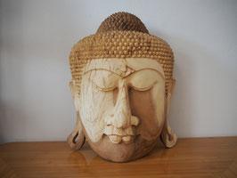 Massive Buddha Wandmaske aus Suarholz mit natürlicher Holzmaserung, unbehandelt -R8-