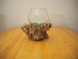 Wurzelholz mit 1 Glas  - W 19-2/13