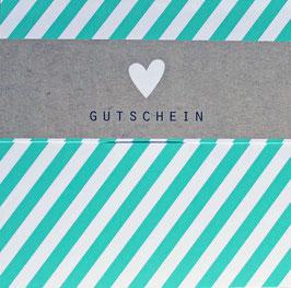 """Gutschein """"HEART STRIPES TURQUOISE"""" 492010025"""