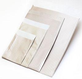 "Flachbeutel ""Stripes creme-silber"" coated 167390F"