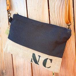 Sac pochette noir et lin NC500
