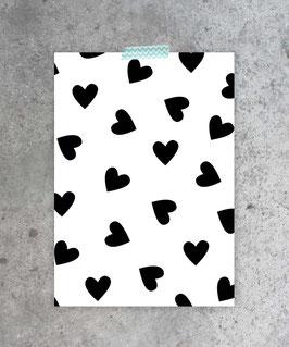 Kaart zwart/wit hartjes