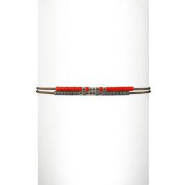Bracelet cordon perles - Orange
