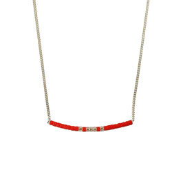 Collier chaine perles - Orange