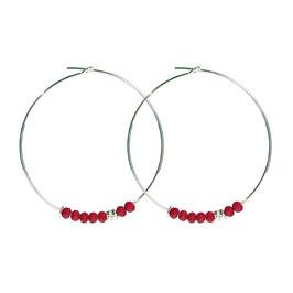 Créoles perles - rouge
