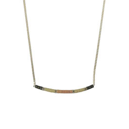 Collier chaine perles - Rose/Kaki