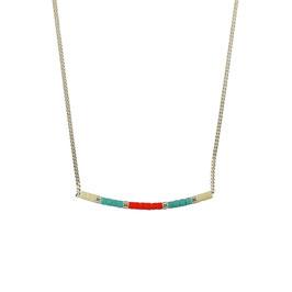 Collier chaine perles - Turquoise/Orange