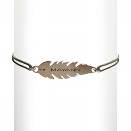Bracelet cordon Plume - argent