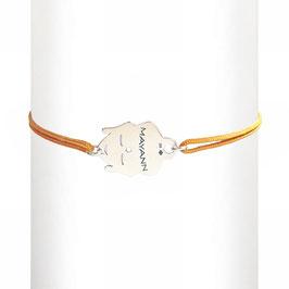 Bracelet cordon Bouddha - argent