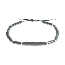 Bracelet Hématite rond - argenté
