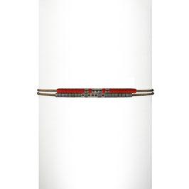 Bracelet cordon perles - Rouge
