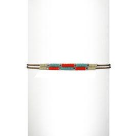Bracelet cordon perles - Turquoise/Orange