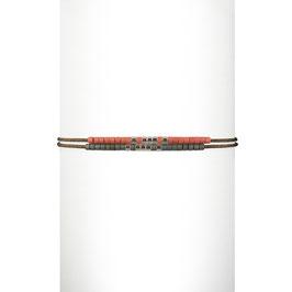 Bracelet cordon perles - Corail