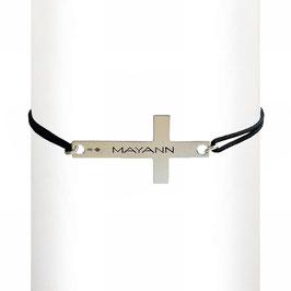 Bracelet cordon Croix - argent