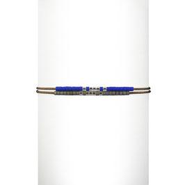 Bracelet cordon perles - Bleu