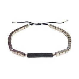 Bracelet Hématite carré - argenté