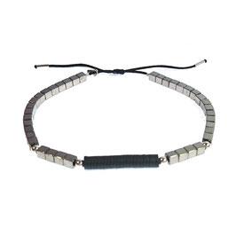Bracelet Hématite carré - noir