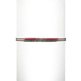 Bracelet cordon perles - Mauve