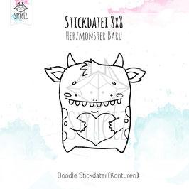 "Stickdatei Doodle 8x8 ""Herzmonster Baru"""