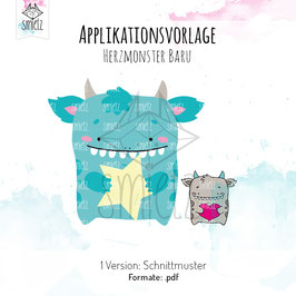 "Applikationsvorlage ""Herzmonster Baru"""