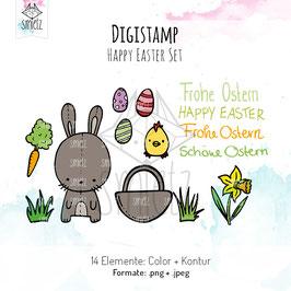 "Set ""Happy Easter"" Digistamps und Digipapier"
