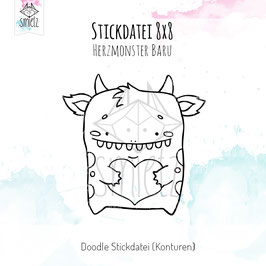 "Stickdatei Doodle 10x10 ""Herzmonster Baru"""