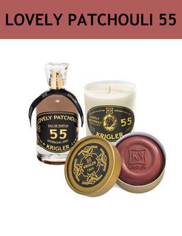 55 SET - LOVELY PATCHOULI 55 El perfume, vela perfumada, jabón noble