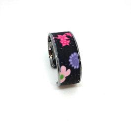 Manchette Velours noir et Fleurs multicolores