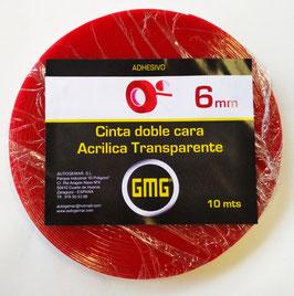 CINTA ADHESIVA DE DOBLE CARA ACRÍLICA TRANSPARENTE 6 mm