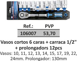 "Vasos cortos 6 caras + carraca 1/2"" + prolongadors 12pcs"