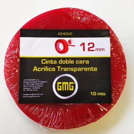 CINTA ADHESIVA DE DOBLE CARA ACRÍLICA TRANSPARENTE 12 mm