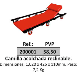 Camilla acolchada reclinable.