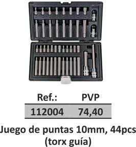 Juego de puntas 10mm, 44pcs (torx guia)