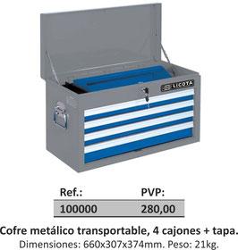 Cofre metálico transportable, 4 cajones + tapa.