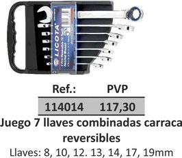 Juego 7 llaves combinadas carraca reversibles