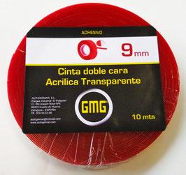 CINTA ADHESIVA DE DOBLE CARA ACRÍLICA TRANSPARENTE 9 mm