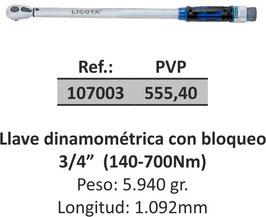 """Llave dinamométrica con bloqueo 3/4"""" (140-700Nm)"""