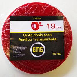 CINTA ADHESIVA DE DOBLE CARA ACRÍLICA TRANSPARENTE 19 mm