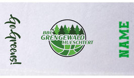 """GAMETOWEL mit großem BBC Logo, """"GO GREENS !"""" - Schriftzug und Wunschname"""