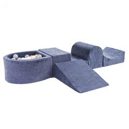 MeowBaby® Schaumspielset mit Mini-Bällebad + 100 Bälle, graublau