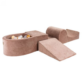 MeowBaby® Schaumspielset mit mini Bällebad - Spielbad mit 100 Bälle, beige