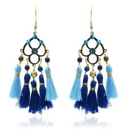 Boucles d'oreilles Pampa Bleu Or