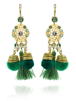 Boucles d'oreilles Comète Vert Or
