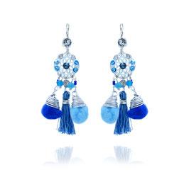 Boucles d'oreilles Comète Bleu Argent